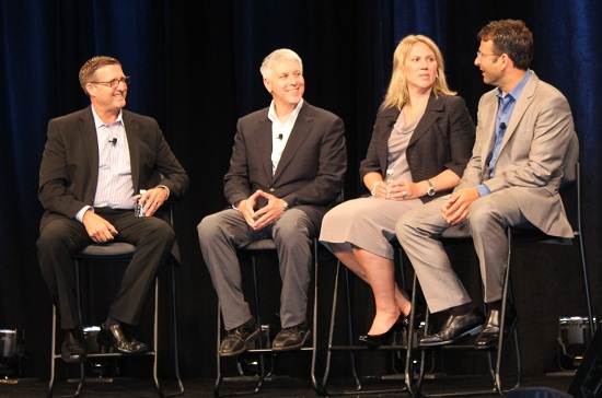 (From left) Microsoft Canada executives Greg Lardner, Mike Tremblay and Staci Trackey Meagher char with Judson Althoff.
