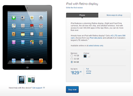 Bell offering iPad and iPad mini at select Bell stores