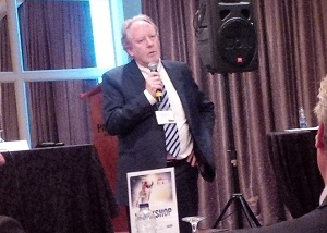 Channelcorp's Bruxe Stuart speaks at CDN's Top 100 event.