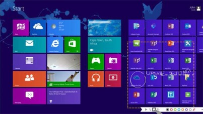 Windows 8 start screen with snip feature