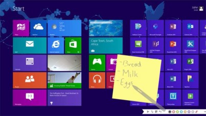Windows 8 star screen with stick notes