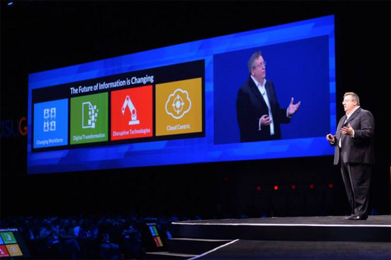 OpenText CEO Mark Barrenechea took the stage during a Sapphire Now key note on Thursday.