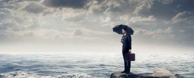 Feature man with umbrella, dark cloud