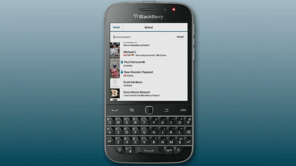 The new BBM Protected feature being shown on the BlackBerry Classic