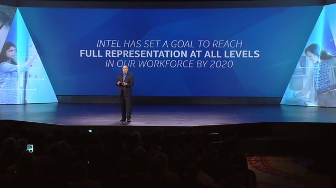 Intel affirming its commitment to diversity in the technology workforce on the CES 2015 stage