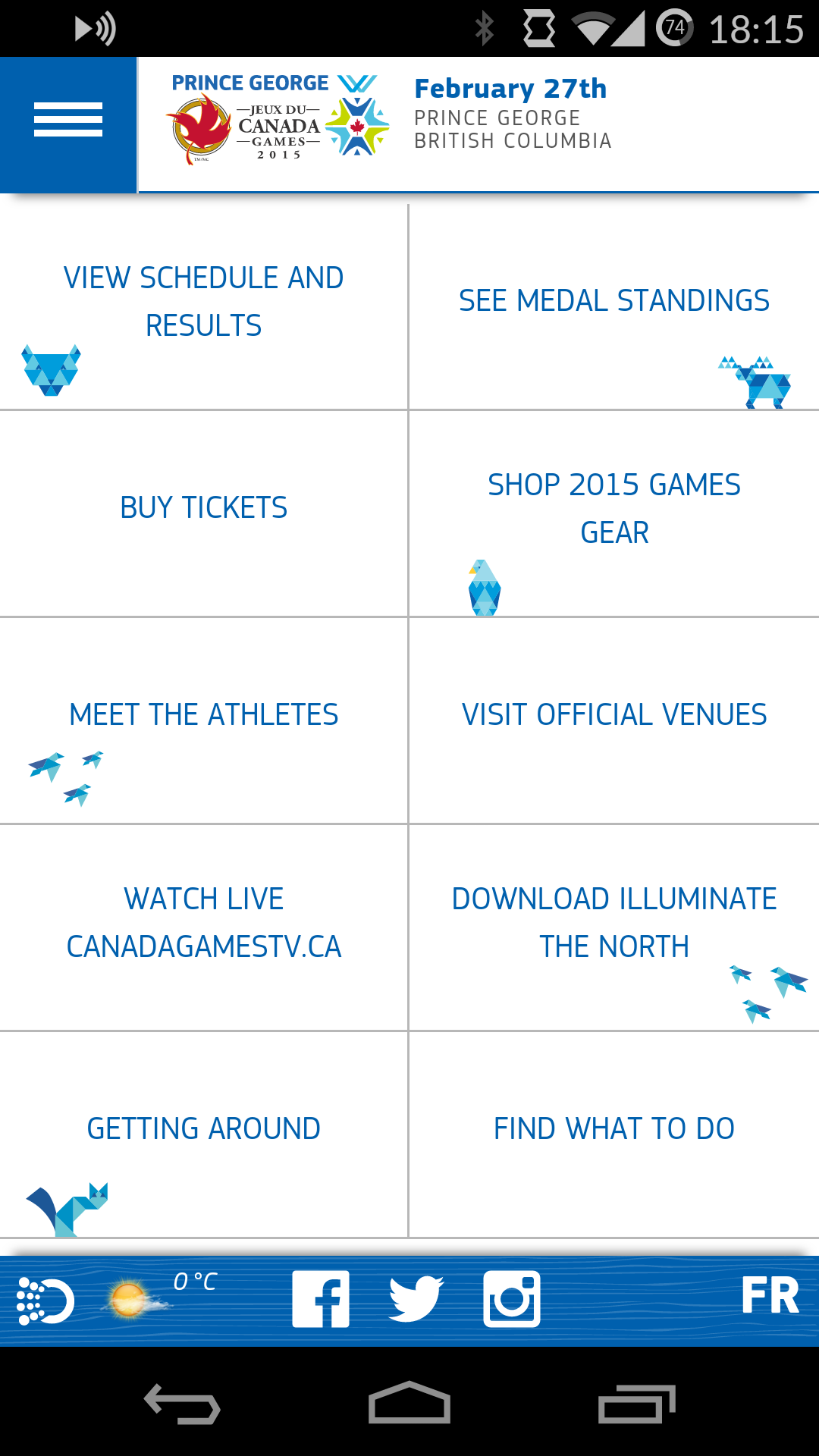 The mobile site of Canada Winter Games 2015 created by Opin