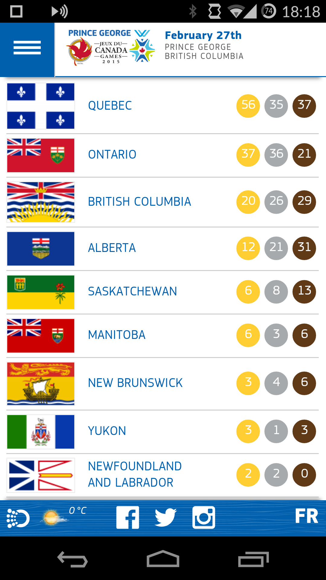 Canada Winter Games 2015 mobile site