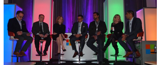 Microsoft Canada's Big Data Debate panelists: Ron Tite, Utsav Arora of IDC, Gayle Ramsay of BMO, Richard Boire of Boire Filler Group, Mohannad El-Barachi of SweetIQ, Tiffany Wissner of Microsoft, and George Hamin of Subaru Canada