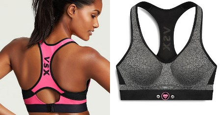 A sports bra with two sensors on the bottom made by Victoria's Secret