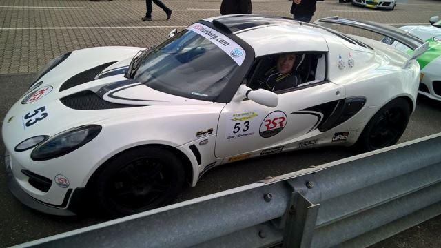 Brian Bourne inside a Lotus racer at Nürburgring