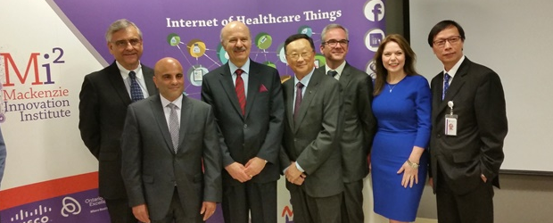 Altaf Stationwala (front left) of Mackenzie Health with MPP Reza Moridi, BlackBerry CEO John Chen and Bernadette Wightman, Cisco Canada President (second right)