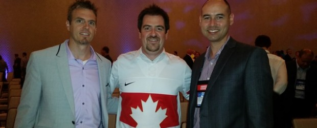 Eric Sugar (centre) after ProServeIT won the 2015 Microsoft Canada Partner of the Year award with Jaime McMahon and Tony Caporaletti