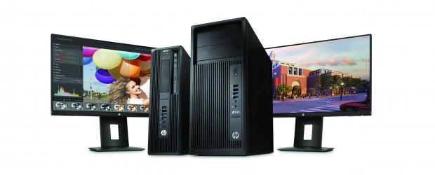HP Z240 SFF Workstation, HP Z240 Tower Workstation, and Dual HP Z23n Displays