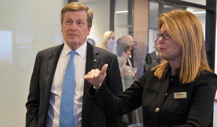 City of Toronto Mayor John Tory with Cisco Americas leader Alison Gleason
