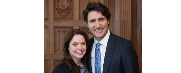 Cisco Canada president Bernadette Wightman with Justin Trudeau, Prime Minister of Canada