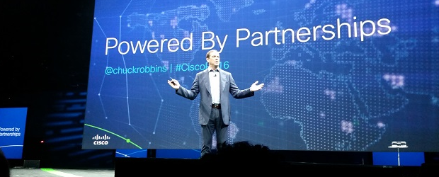 Cisco CEO Chuck Robbins on stage at the Cisco Partner Summit in San Diego