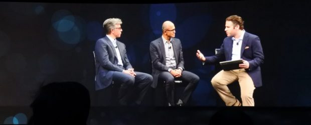 Bill McDermott and Microsoft CEO Satya Nadella on stage at Sapphire in Orlando