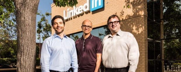 From left:  LinkedIn CEO Jeff Weiner, Microsoft CEO Satya Nadella, and LinkedIn cofounder and controlling shareholder Reid Hoffman in a promotional image released after the companies announced that Microsoft would be acquiring LinkedIn on June 13.