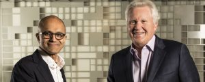 Microsoft CEO Satya Nadella (left) and General Electric CEO Jeff Immelt