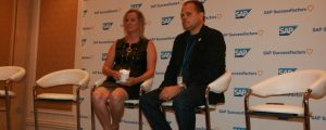 SAP SuccessFactors President Mike Ettling, right, is joined by Corning Inc.'s senior vice president of human resources, Christy Pambianchi, during an Aug. 30 Q&A session in which Ettling was asked how SAP intended to reach its 2016 sales targets.