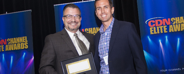 Ingram Micro Canada Chief Executive Bill Brandel with MediaValet CEO David MacLaren at the 2016 Channel Elite Awards