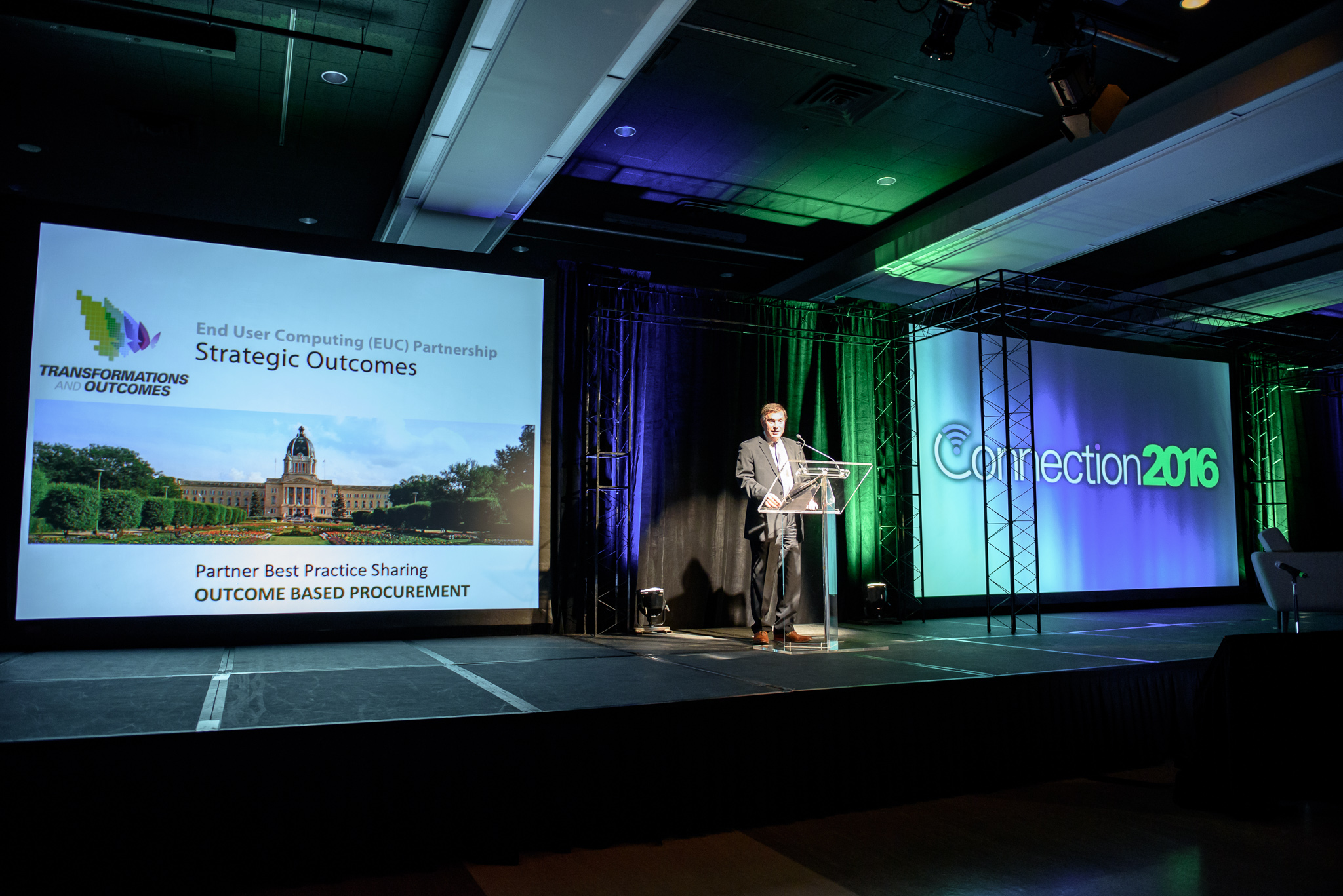 Gord Wyant, Province of Saskatchewan Attorney General, Minister of Justice, and Minister Responsible for the Saskatchewan Power Corporation introduces a session on the outcomes being generated by transforming procurement at WBM's Connection 2016.