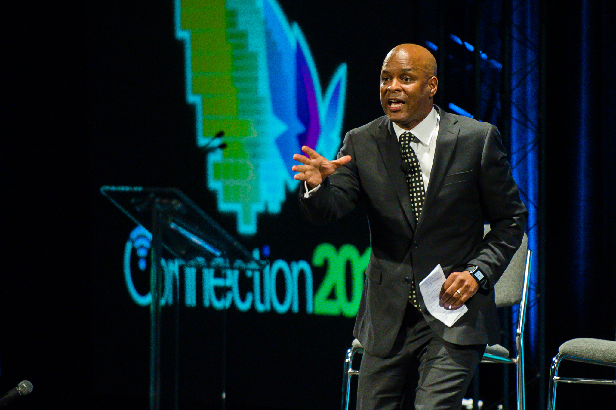 Whetstone Inc President Adrian Davis inspires the community to continue forging ahead with a very personal message at WBM's Connection 2016.
