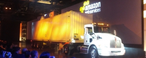 The AWS Snowmobile truck for exabyte data transfers