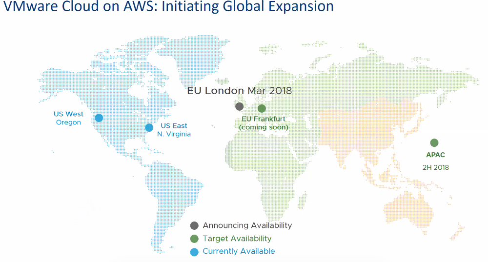 VMware on AWS Cloud regions