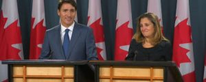Trudeau and Freeland - USMCA announcement