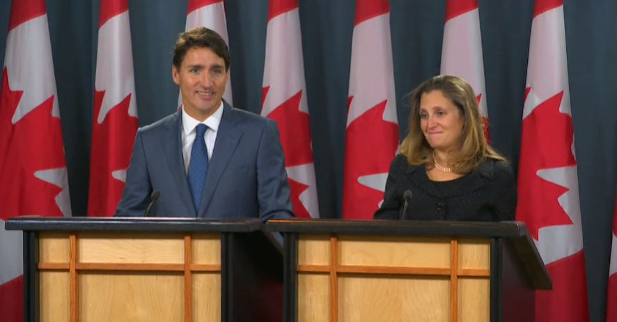 Trudeau and Freeland - USMCA announcement