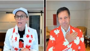 photo of kevin peesker and suzanne gagliese in maple leaf themed outfits